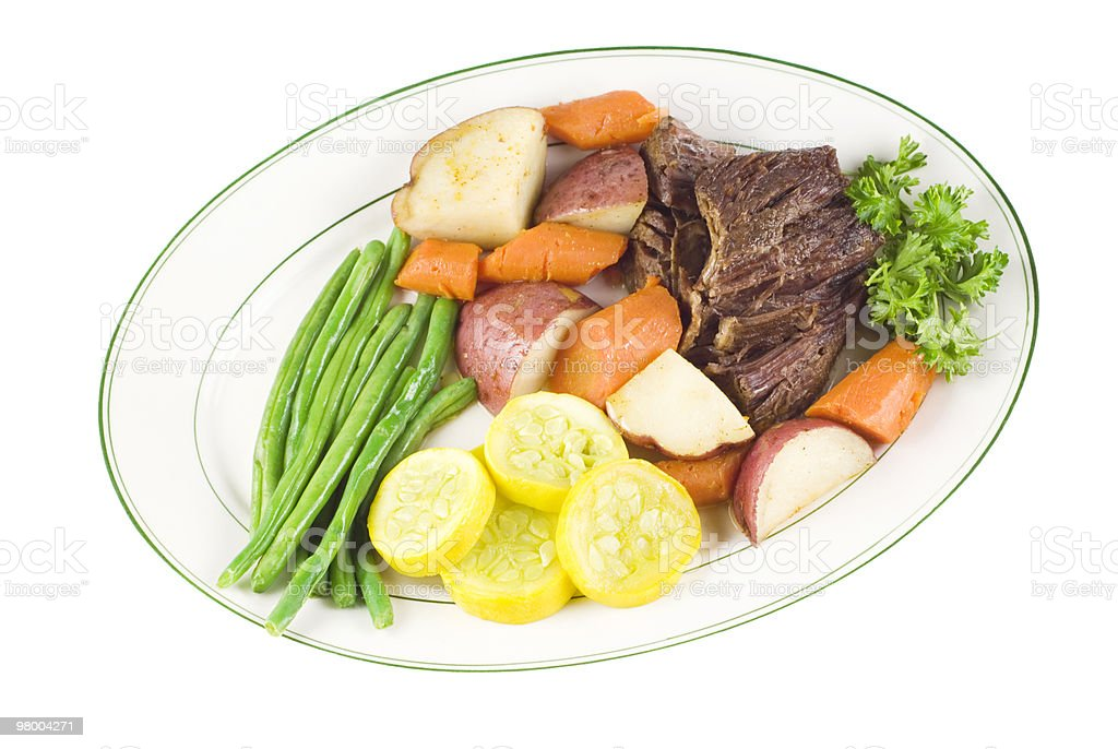 Roast Beef with vegetables on plate royalty free stockfoto