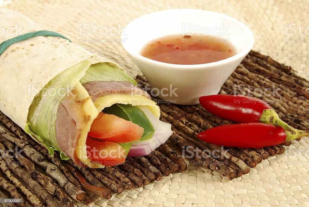 Roast beef wrap sandwich with sweet and chilli sauce royalty-free stock photo