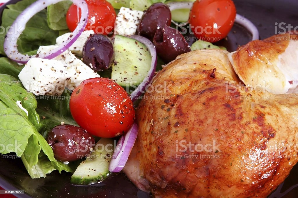 Roast Chicken and Greek Salad royalty-free stock photo