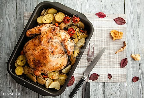 istock roast chicken and potato slices for thanksgiving day holiday 1172541695
