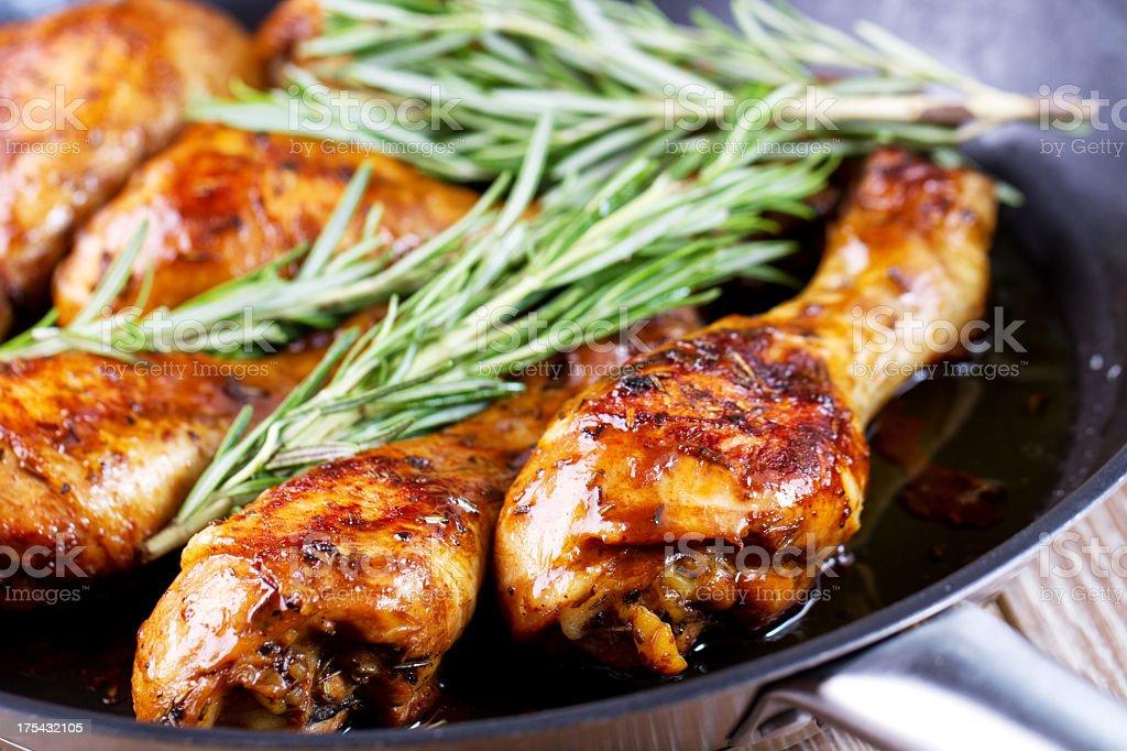 Roast chicken in pan. stock photo