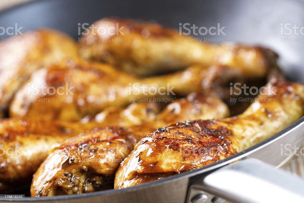 Roast chicken in pan stock photo