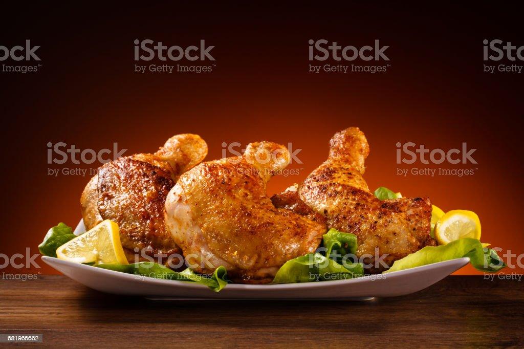 Roast chicken legs stock photo