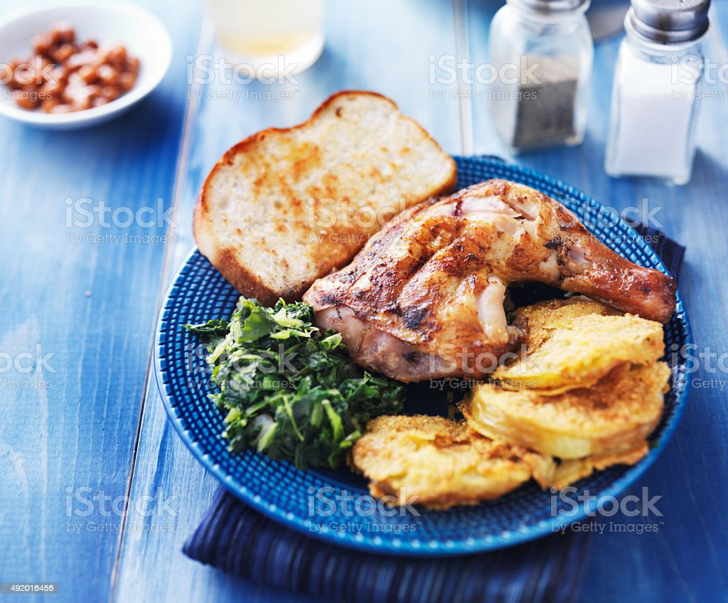 roast chicken meal stock photo