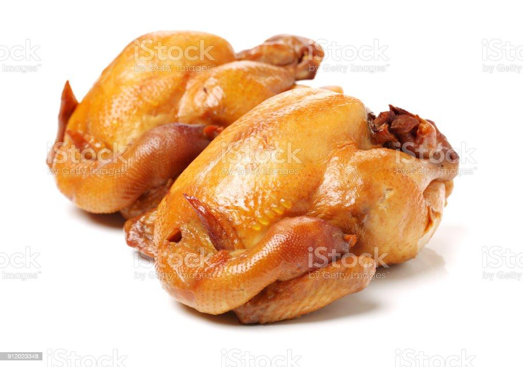 Roast Chicken on the white background stock photo