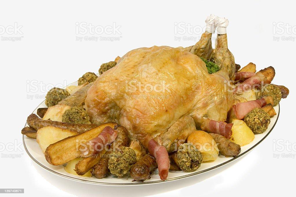 Roast Chicken platter royalty-free stock photo