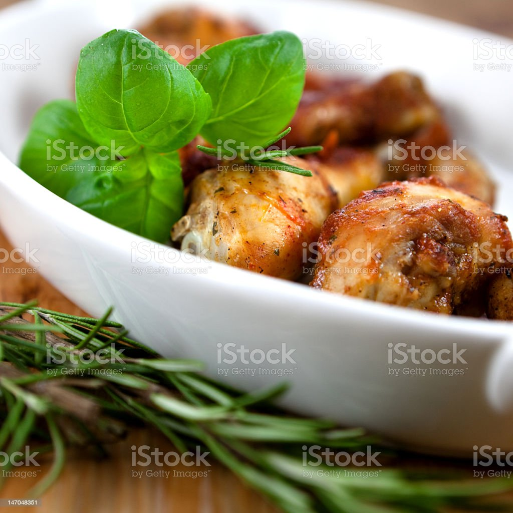 Roast chicken with herbs royalty-free stock photo