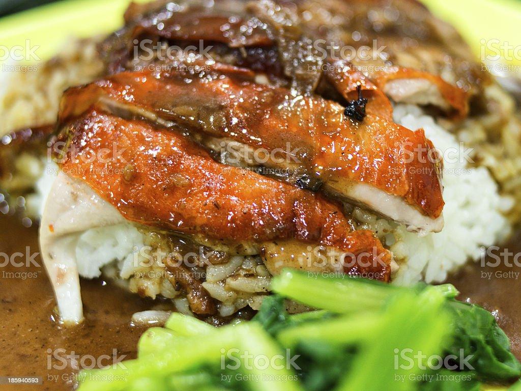 Roast duck rice stock photo
