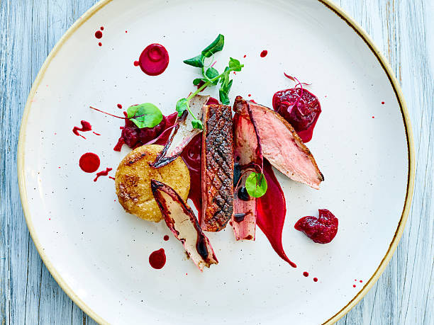 Roast Duck with beetroot sauce stock photo