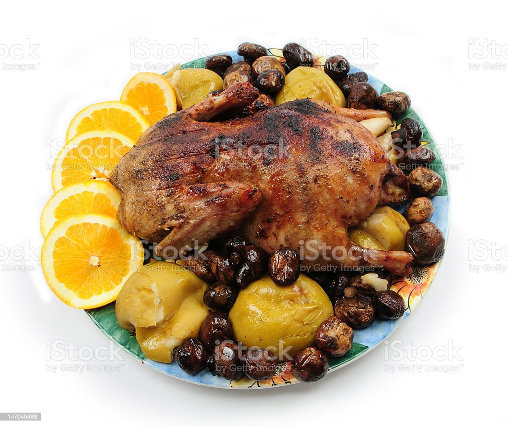 roast duck with mushrooms royalty-free stock photo