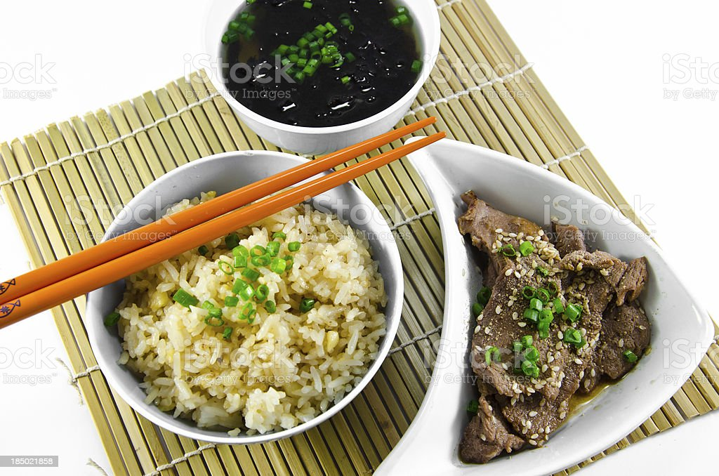 Roast garlic fried rice and seaweed soup. stock photo