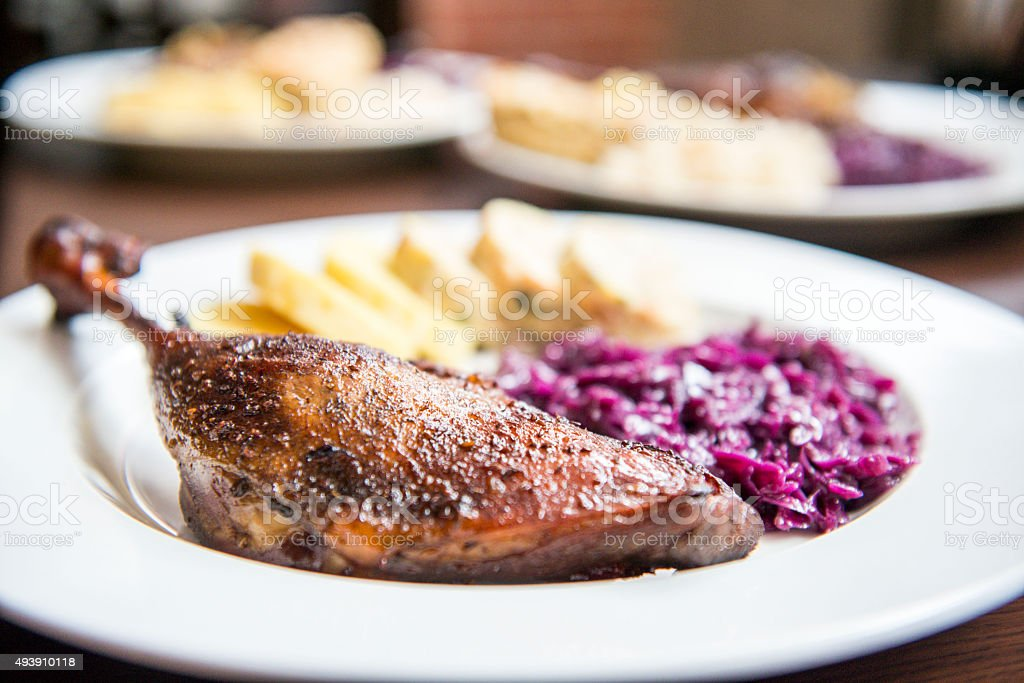 Roast goose with cabbage stock photo