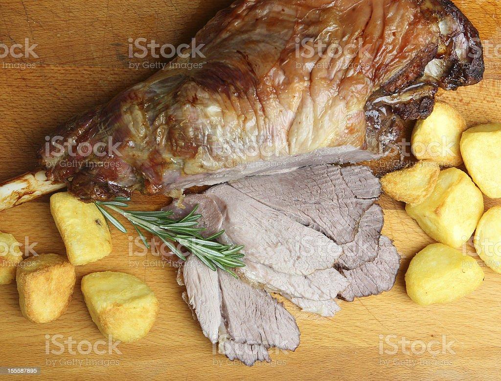 Roast Lamb with Potatoes royalty-free stock photo