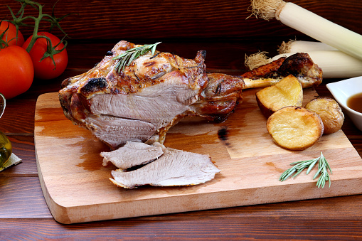 istock Roast Leg of Lamb for Main Course 1010875334