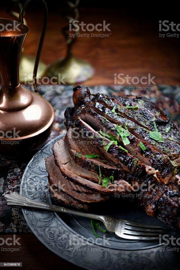 Roast Leg of Lamb III stock photo