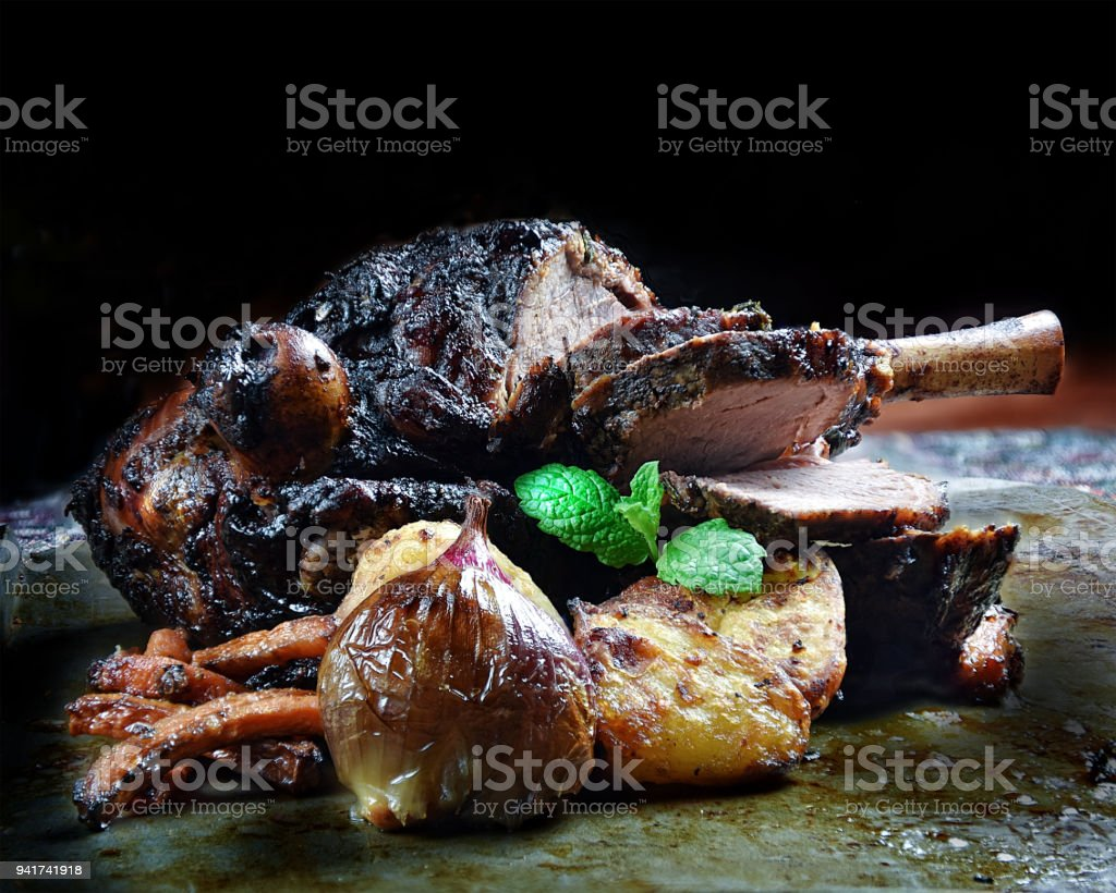Roast Leg Of Lamb stock photo