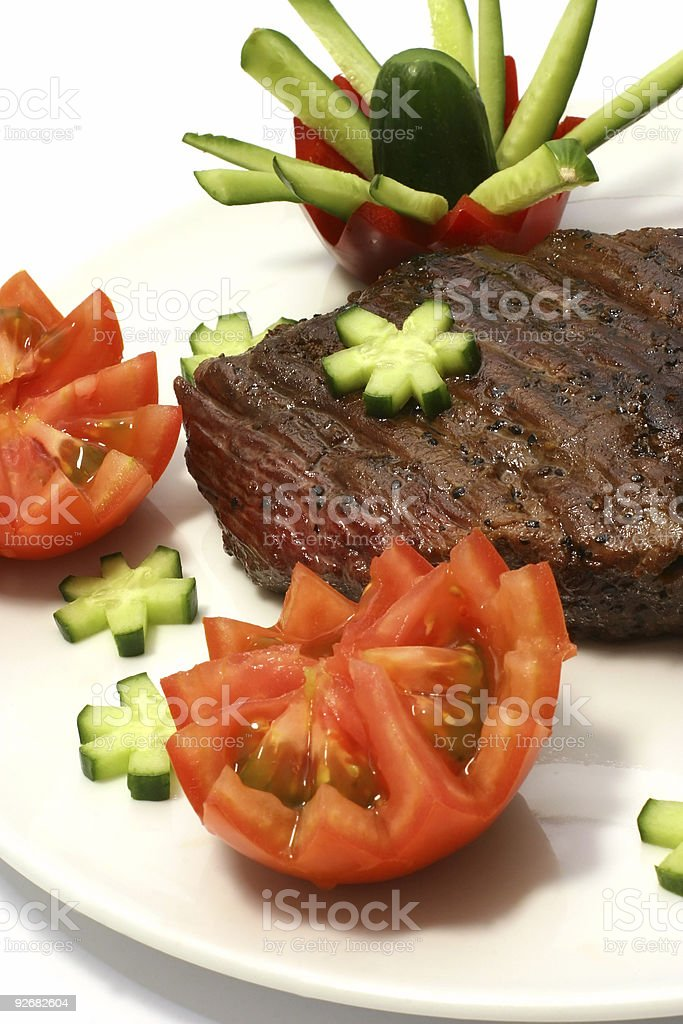 roast meat on dish royalty-free stock photo