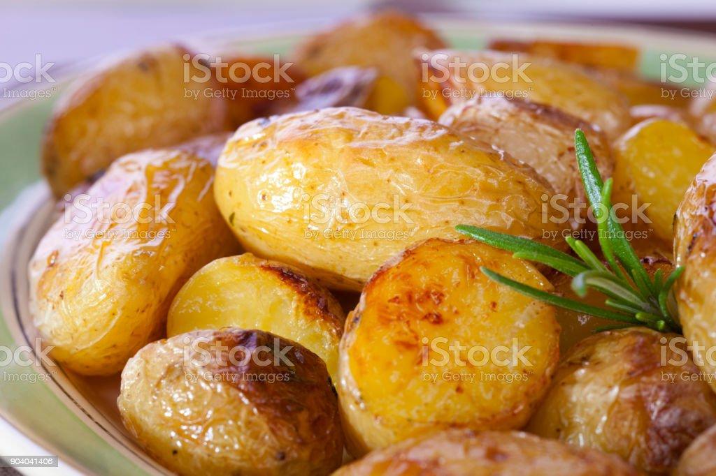 Roast New Potatoes with Rosemary stock photo