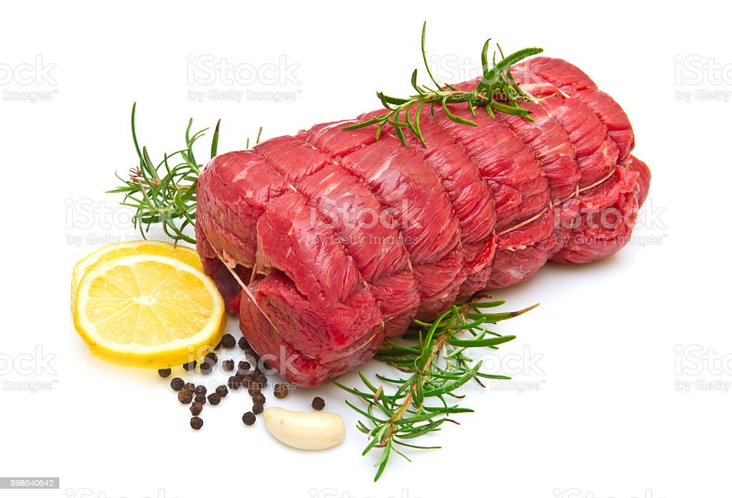 roast of beef with rosemary on white photo libre de droits