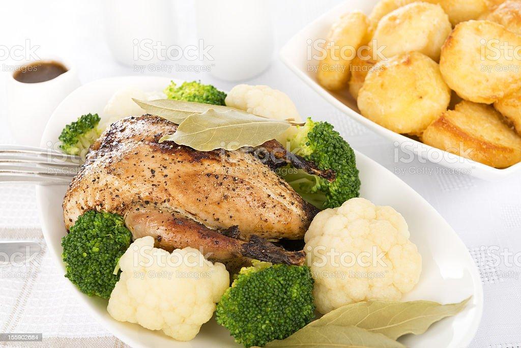 Roast Partridge Sunday Lunch royalty-free stock photo