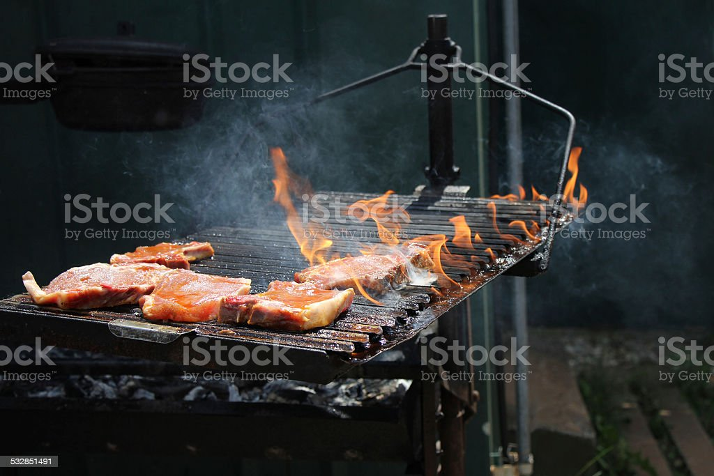 Roast pork chops stock photo