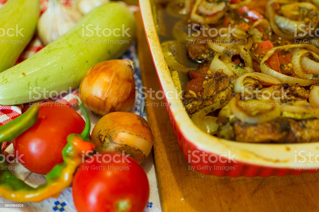 Roast pork with vegetables stock photo