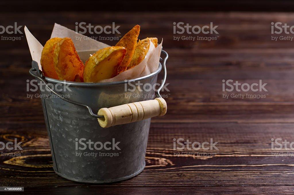 Roast potatoes. stock photo
