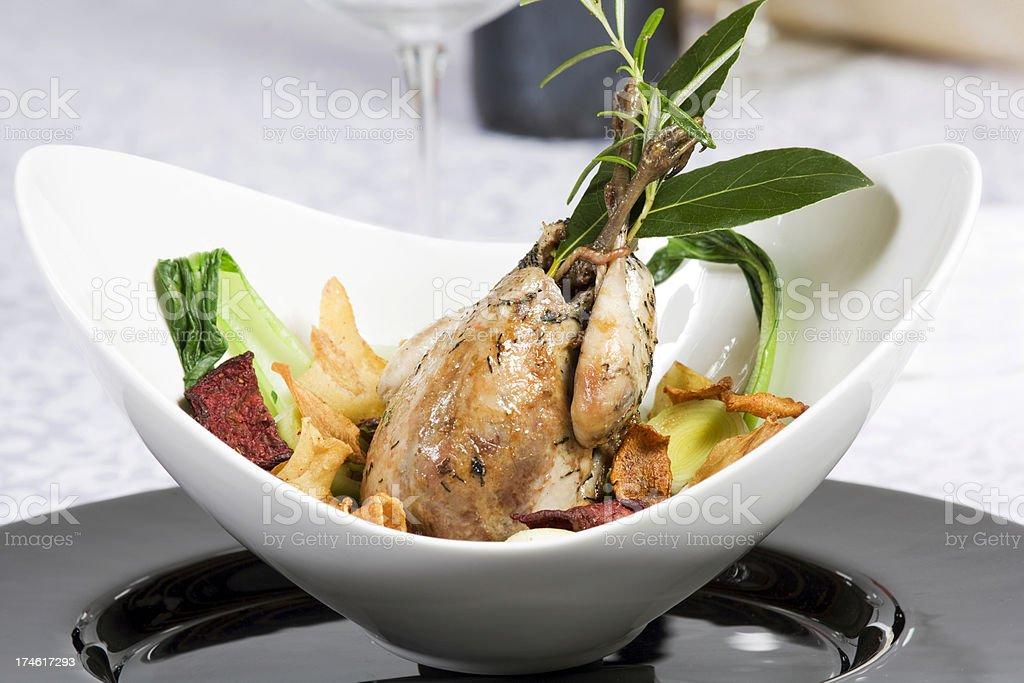 Roast quail stock photo