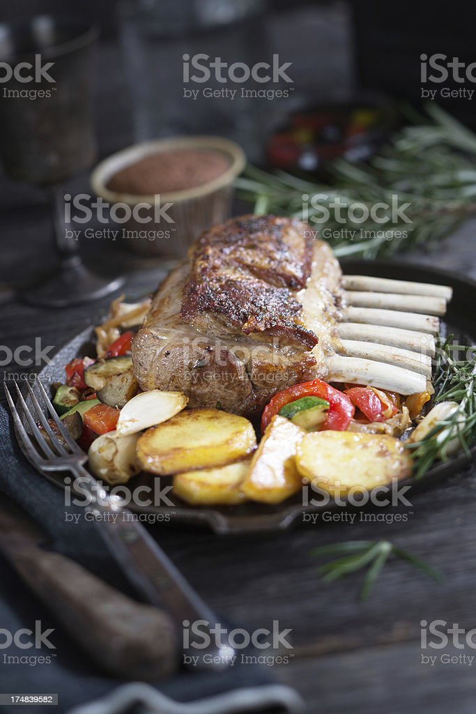 Roast Rack of Lamb stock photo