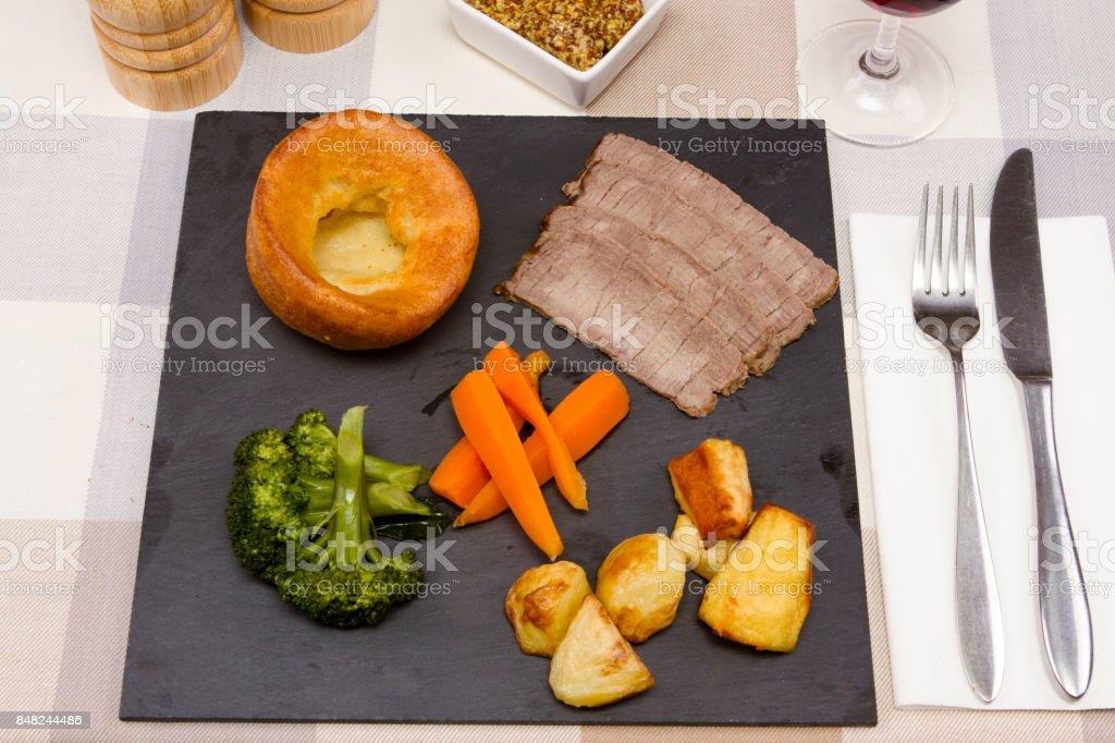 Roast topside beef stock photo