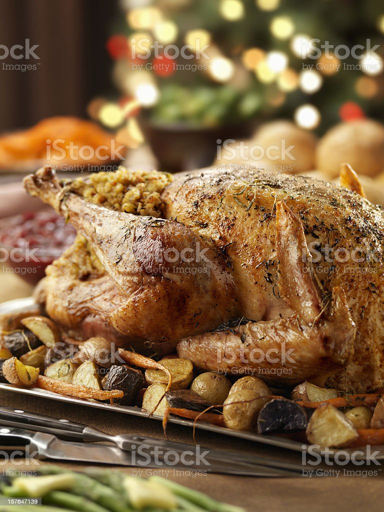 Roast Turkey Dinner at Christmas Time royalty-free stock photo