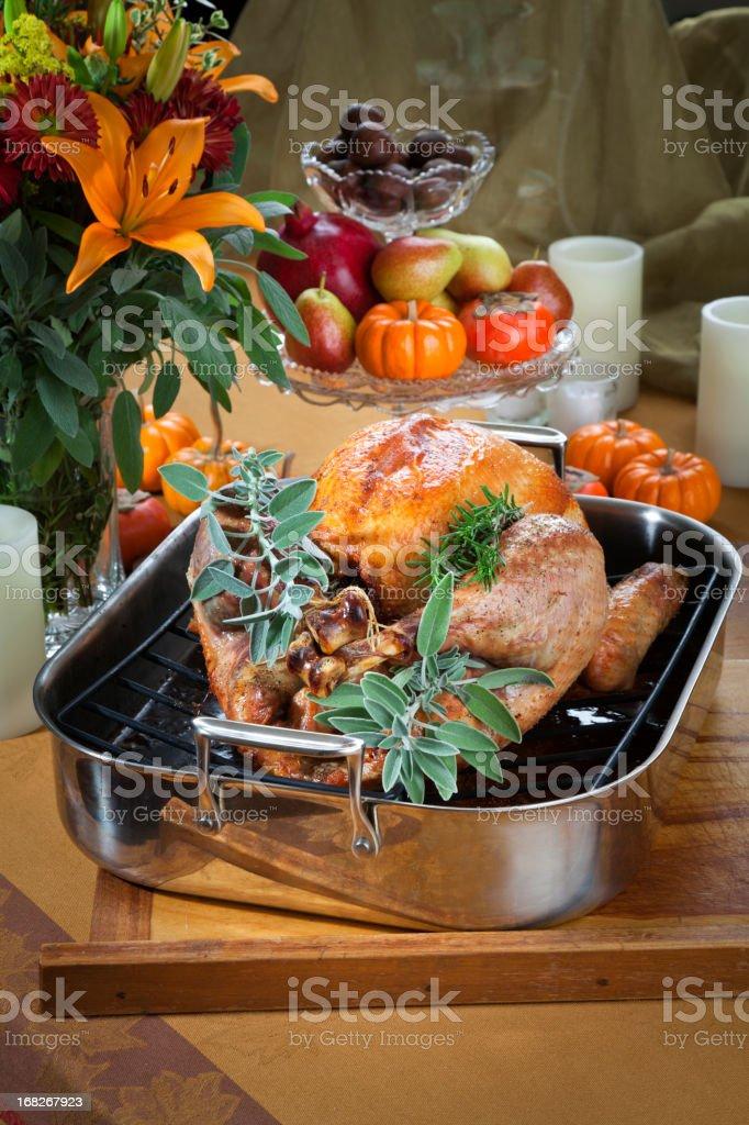 Roast Turkey Dinner, Holiday Food royalty-free stock photo