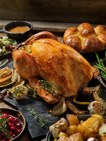 Roast Turkey Dinner Stock Photo - Download Image Now - iStock