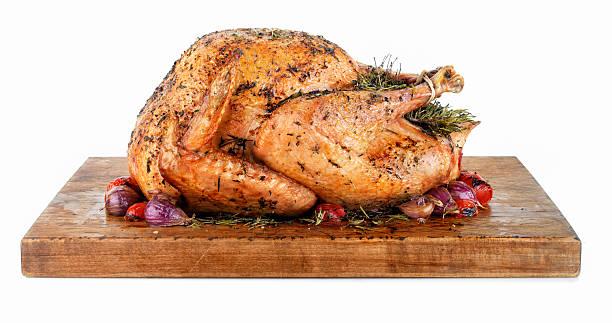 Roast Turkey on a Cutting Board stock photo