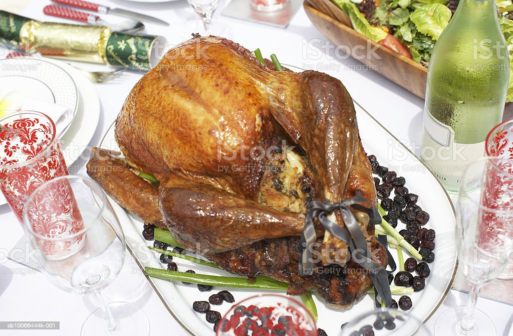Roast turkey on outdoor table royalty-free stock photo