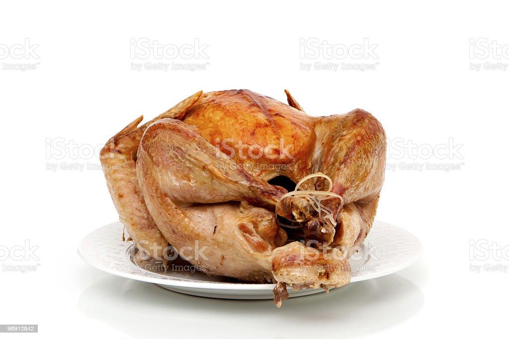 Roast turkey on white background royalty-free stock photo