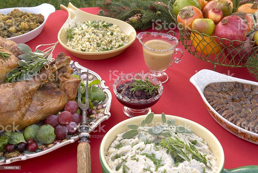 Roast Turkey Thanksgiving or Christmas Dinner Table Buffet royalty-free stock photo
