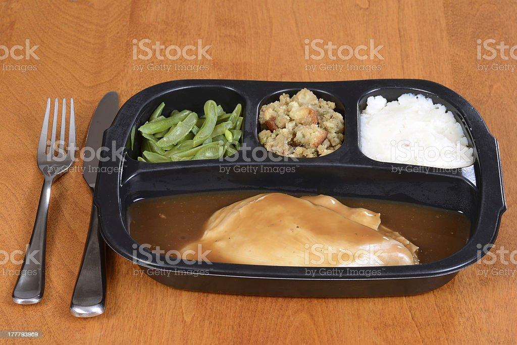 roast turkey tv dinner stock photo