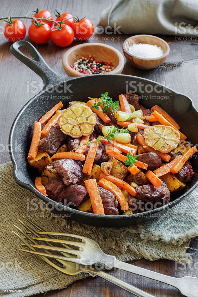 Roast with Vegetables stock photo