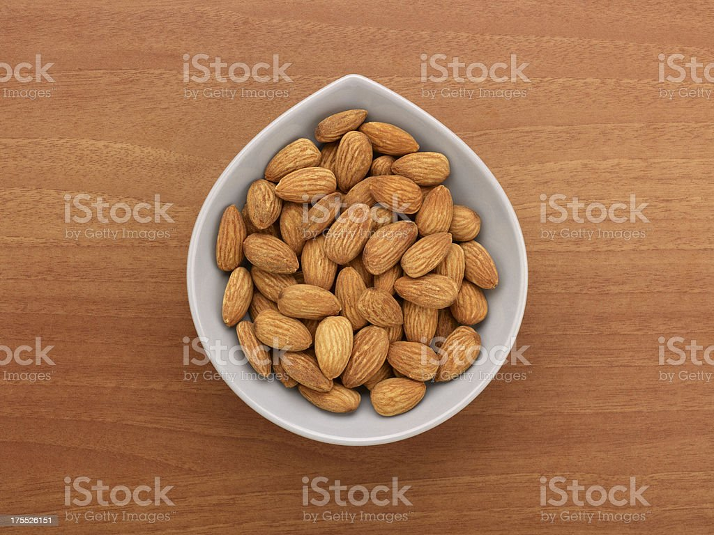 Roasted Almonds In A Bowl stock photo