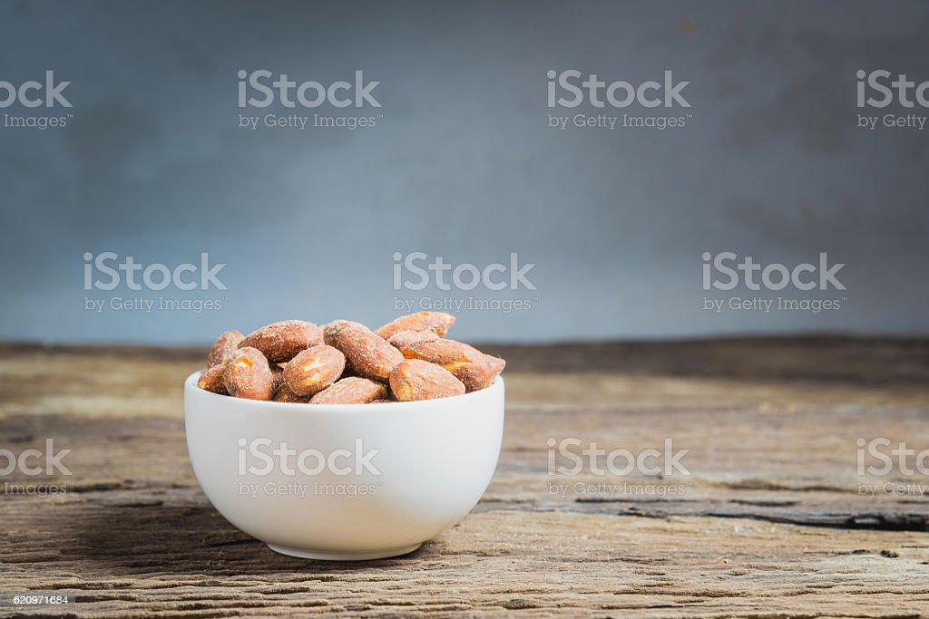 Roasted almonds stock photo