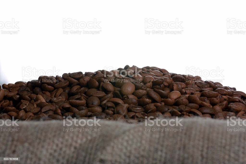 roasted and ground coffee stock photo
