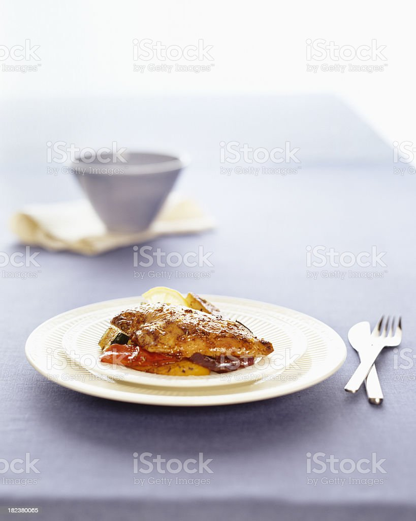 Roasted and stuffed  chicken breast meal. royalty-free stock photo