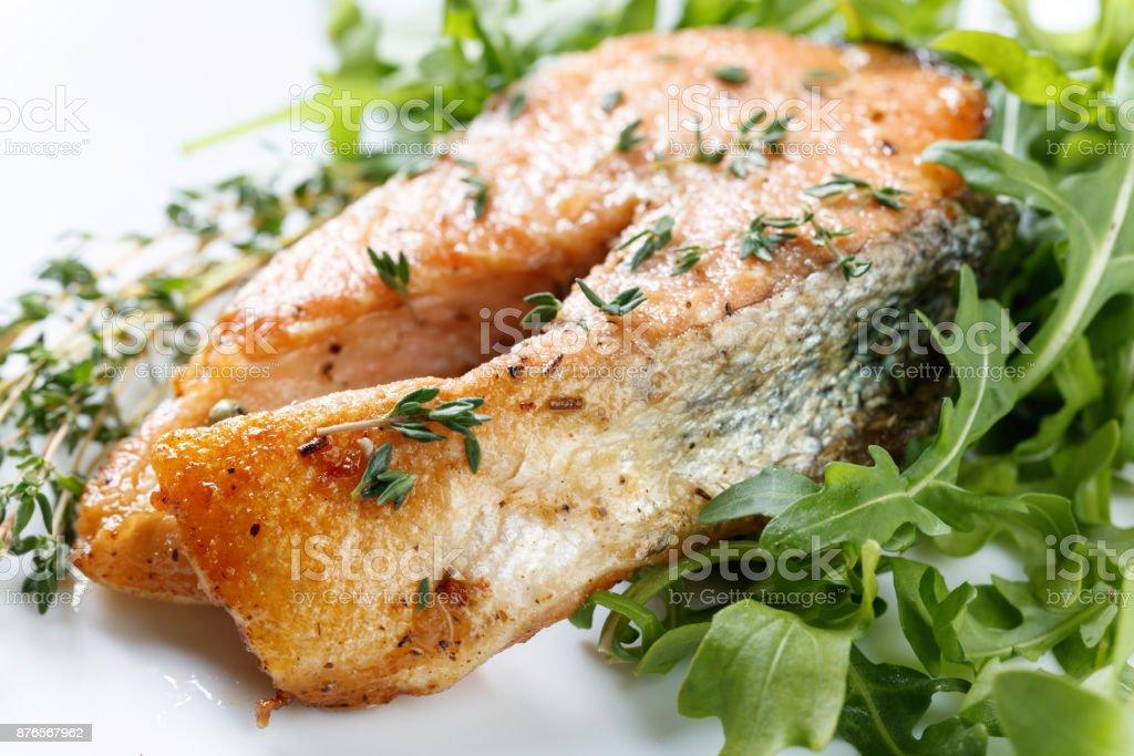 Roasted atlantic salmon . stock photo
