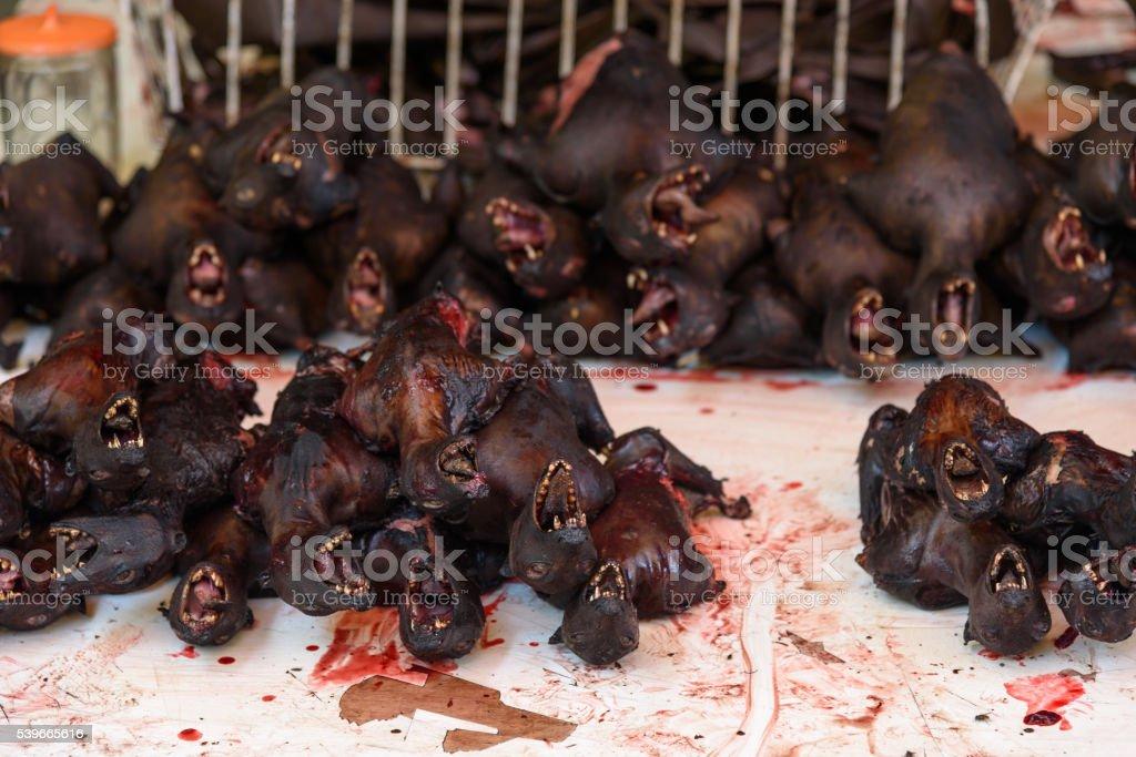 Roasted bats on Tomohon Traditional Market stock photo