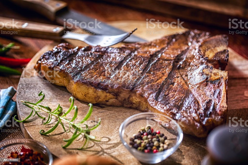 Roasted BBQ T-Bone Steak stock photo