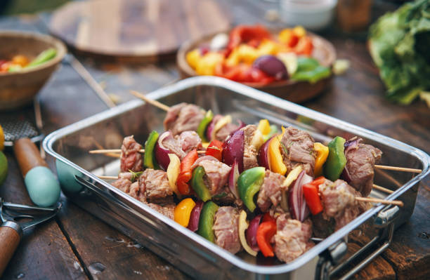 Roasted Beef Kebab with Vegetables stock photo