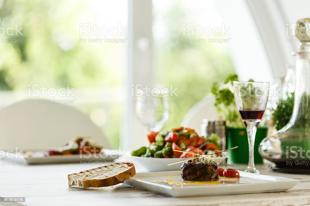 Roasted beef served in plate stock photo