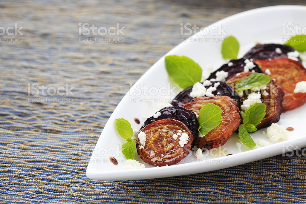 Roasted Beets with Goat Cheese and Mint royalty-free stock photo