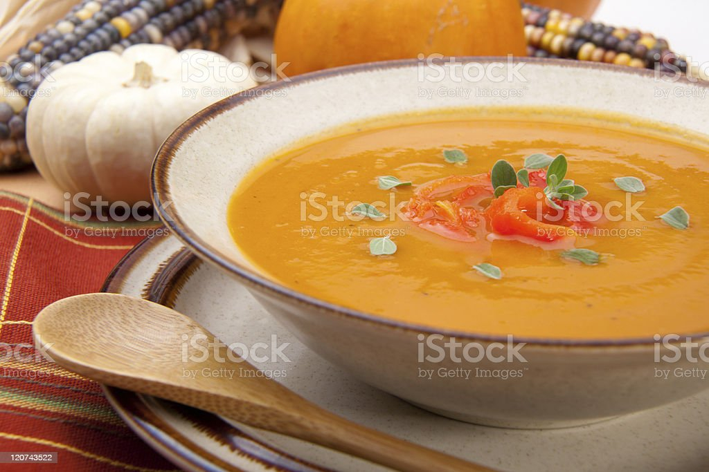 Roasted Bell Pepper Pumpkin Soup stock photo